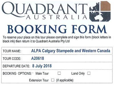 2018 calgary Stampede Booking Form