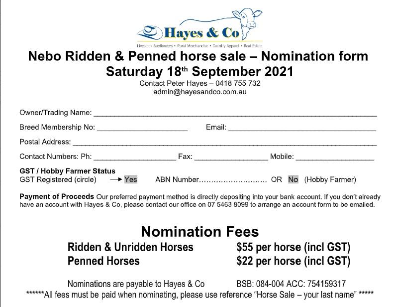 Nebo Horse Sale Nomination form